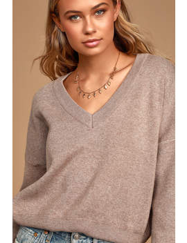 Cozy Attitude Beige V Neck Knit Sweater by Lulus