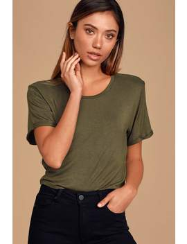 Carina Olive Green Cropped Tee by Lulus