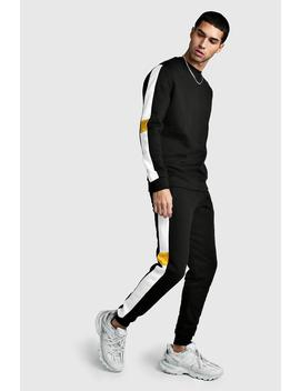 Sweater Tracksuit With Contrast Side Panels by Boohoo