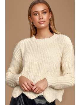 Aim High Ivory Eyelash Knit Scalloped Sweater by Lulus