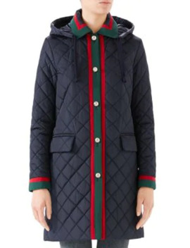 Long Sleeve Quilted Hooded Coat by Gucci