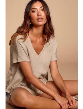 True Story Beige V Neck Short Sleeve Sweater Top by Lulus