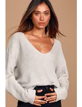 Feel It Still Grey Knit Sweater by Lulus