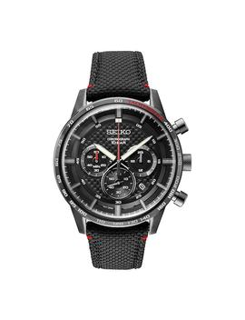 Seiko Men's Black Ion Plated Stainless Steel & Leather Chronograph Watch   Ssb359 by Seiko