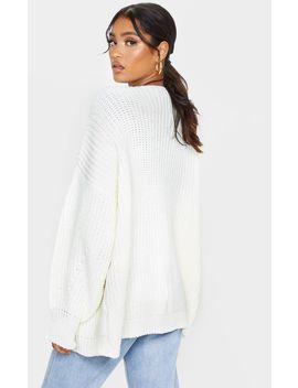 Cream Chunky Knit Slouchy Cardigan by Prettylittlething