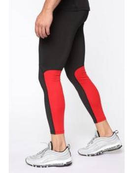 Slip Up Tights   Black/Red by Fashion Nova