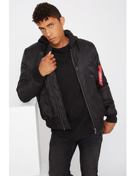 Jersey Contrast Hood Bomber Jacket by Urban Planet