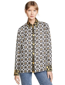 Printed Button Down Shirt by Versace