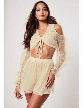 Stone Co Ord Dobby Mesh Ruched Front Top by Missguided