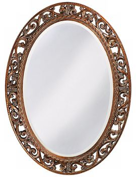 "Howard Elliott Suzanne Gold 27"" X 37"" Oval Wall Mirror by Lamps Plus"