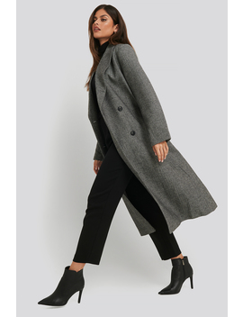Oversized Herringbone Coat Grey by Nakdclassic
