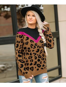 Animal Print High Neck Sweater by Willow & Root