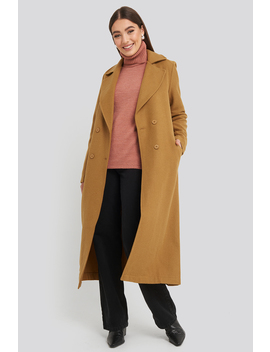 Buttoned Wool Coat Brown by Trendyol