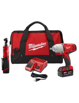 M18/M12 12/18 Volt Lithium Ion Cordless 3/8 In. Ratchet &Amp; 1/2 In. Impact Wrench W/ Friction Ring Combo Kit by Milwaukee