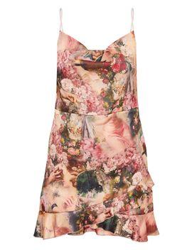 Multi Renaissance Print Satin Frill Hem  Strappy Bodycon Dress by Prettylittlething