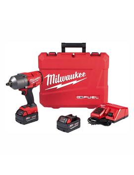M18 Fuel 18 Volt Lithium Ion Brushless Cordless 1/2 In. Impact Wrench With Friction Ring Kit With Two 5.0 Ah Batteries by Milwaukee