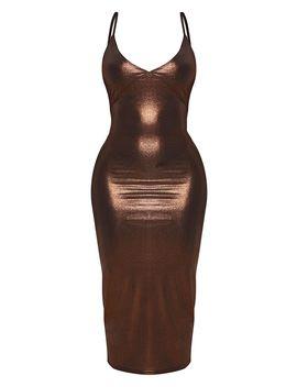 Shape Bronze Metallic Slinky Cup Detail Midi Dress by Prettylittlething