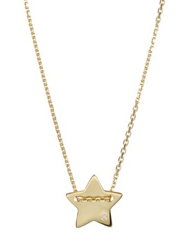 14 K Yellow Gold Plated Diamond Detail Star Charm Necklace   0.01 Ctw by Adornia