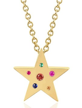 14 K Yellow Gold Round Cute Multi Stone Mini Star Shape Pendant Necklace by Ef Collection