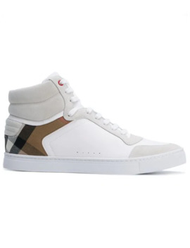 Leather And House Check High Top Sneakers by Burberry