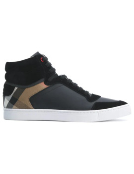 Leather And House Check Hi Top Sneakers by Burberry