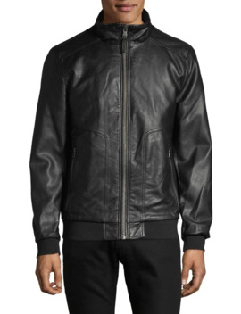 Faux Leather Bomber Jacket by Calvin Klein