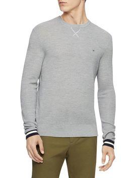 Textured Merino Wool Blend Sweater by Calvin Klein