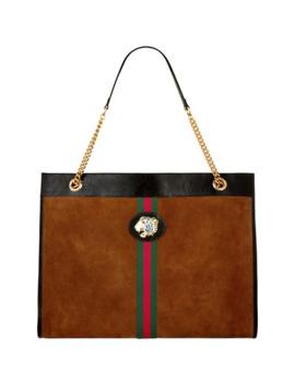 Large Suede Rajah Tote Bag by Gucci