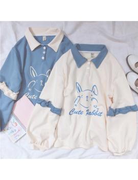 Soft Girl Cute Rabbit Letter Women Hoodies Japanese Kawaii Bunny Graphic Vintage Sweatshirts Kpop Long Sleeve Ruffles Clothes by Ali Express.Com