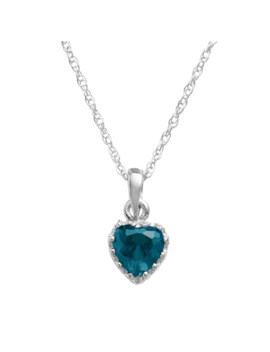 Tiara Sterling Silver London Blue Topaz Heart Crown Pendant by Tiara