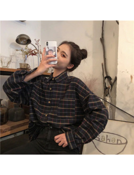Simple Vintage Plaid Loose All Match Korean Style College Wind Fashion Female Women Long Sleeve Shirts by Ali Express.Com
