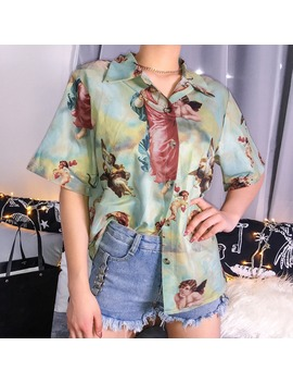 Vintage Aesthetic Cupid Angel Print Women' Blouse Shirt Cardigan Short Sleeve Summer Top Graphic Blouse Women Clothes 2019 New by Ali Express.Com