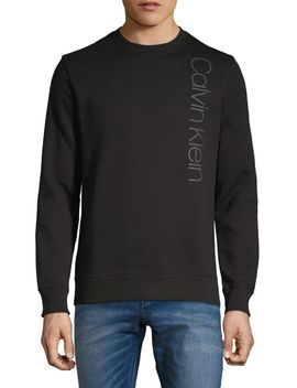 Sport Vertical Logo Cotton Blend Fleece Sweatshirt by Calvin Klein
