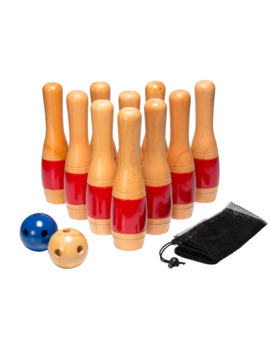 Hey! Play! 11 In. Wooden Lawn Bowling Set by Hey Play
