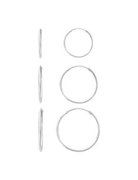 Primrose Sterling Silver Endless Hoop Earrings   Set Of 3 by Primrose
