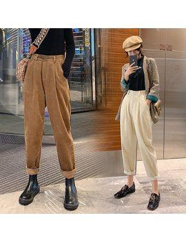 Autumn Winter Corduroy Pants Women High Waist Pockets Trousers Women Plus Size 2019 Streetwear Harem Pants Pantalon Femme by Ali Express.Com