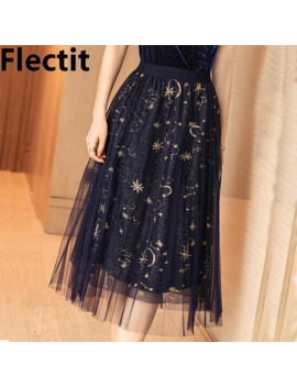 Flectit Gold Moon Star Embroidered Tulle Skirt Vintage Semi Sheer Fabric High Waist Pleated Midi Skirt For Women Ladies by Ali Express.Com