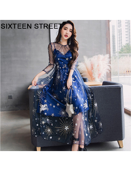 Fashion Star Moon Embroidery Blue Dress Woman Long Sleeve Round Neck Spring Summer Beach Maxi Dresses Female 2019 by Ali Express.Com