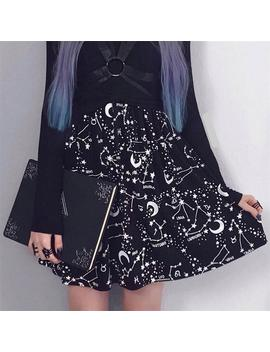 Insta Hot Star Printed Pleated Gothic Skirts Women High Waist Punk Black Mini Skirts Constellation Rock Moon Sexy Club Outfits by Ali Express.Com
