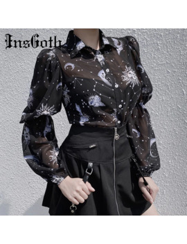 Ins Goth Women Sexy Transparent Black T Shirt Chiffon Shirts Gothic Streetwear Moon Son Print Puff Long Sleeve Female Loose Top by Ali Express.Com