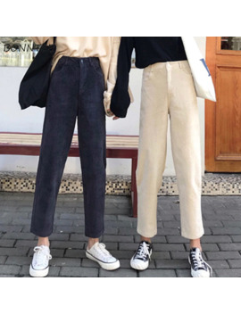 Pants Women Single Button Zipper Pockets Solid Color Simple Womens Trendy Ankle Length Corduroy High Leisure All Match Korean by Ali Express.Com