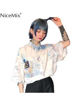 Nice Mix Summer Harajuku Blouse Short Sleeve Womens Shirt Digtal Print Map Tops And Blouses Casual Blusas Camisas Mujer 2019 by Ali Express.Com