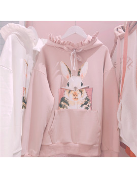 Cute Rabbit Women Bunny Sweatshirt Korean Lovely Graphic Pink Hoodie Japanese Casual Kawaii Lolita Long Sleeve Ruffle Pullover by Ali Express.Com