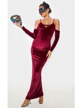 Burgundy Metallic Velvet Bardot Maxi Dress by Prettylittlething