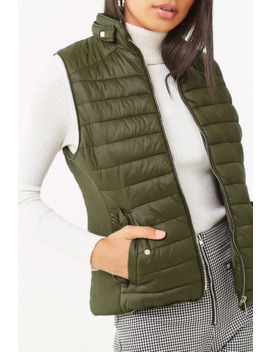 Ribbed Panel Puffer Vest by Forever 21