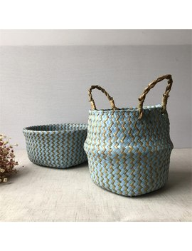 2019 Foldable Handmade Seagrass Storage Basket Wicker Rattan Belly Straw Garden Flower Pot Wave Pattern Planter Clothes Basket by Ali Express.Com