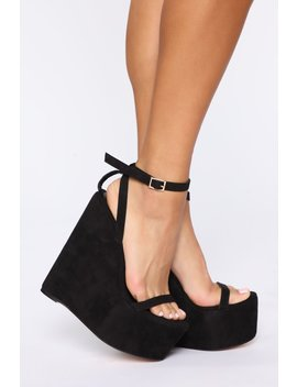 Higher And Higher Wedge   Black by Fashion Nova