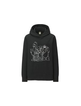 Kaws X Uniqlo X Sesame Street Group #2 Outline Hoodie (Japanese Womens Sizing) Black by Stock X