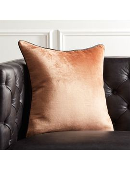"18"" Copper Crushed Velvet Pillow With Down Alternative Insert by Crate&Barrel"