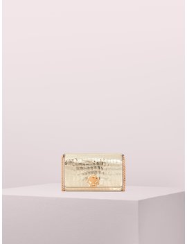 Romy Metallic Croc Embossed Chain Wallet by Kate Spade